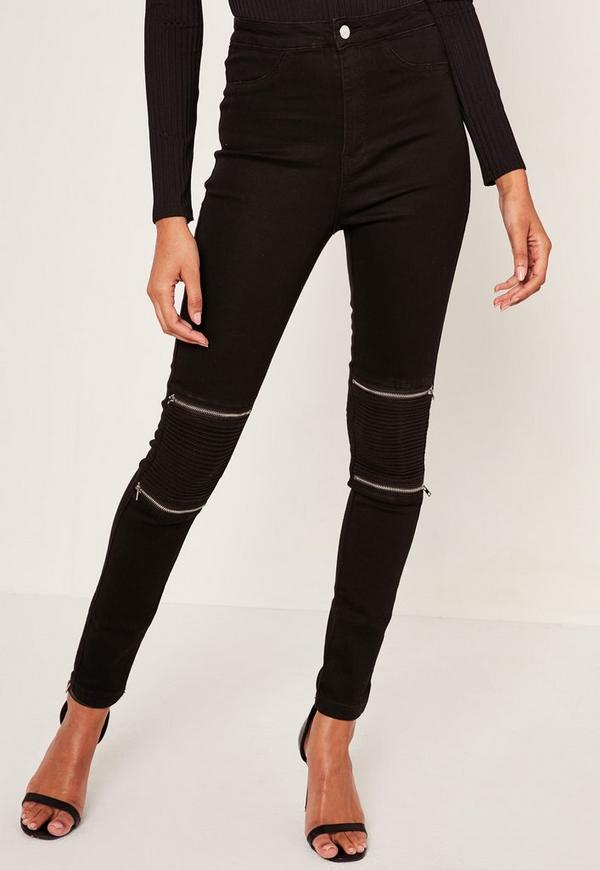 Black high waisted zip jeans