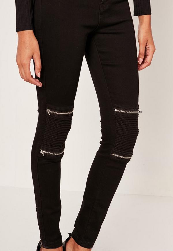Black Vice High Waisted Zip Knee Biker Skinny Jeans | Missguided