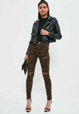 Sinner – High-Waist-Skinny-Jeans mit Rissen in Camouflage