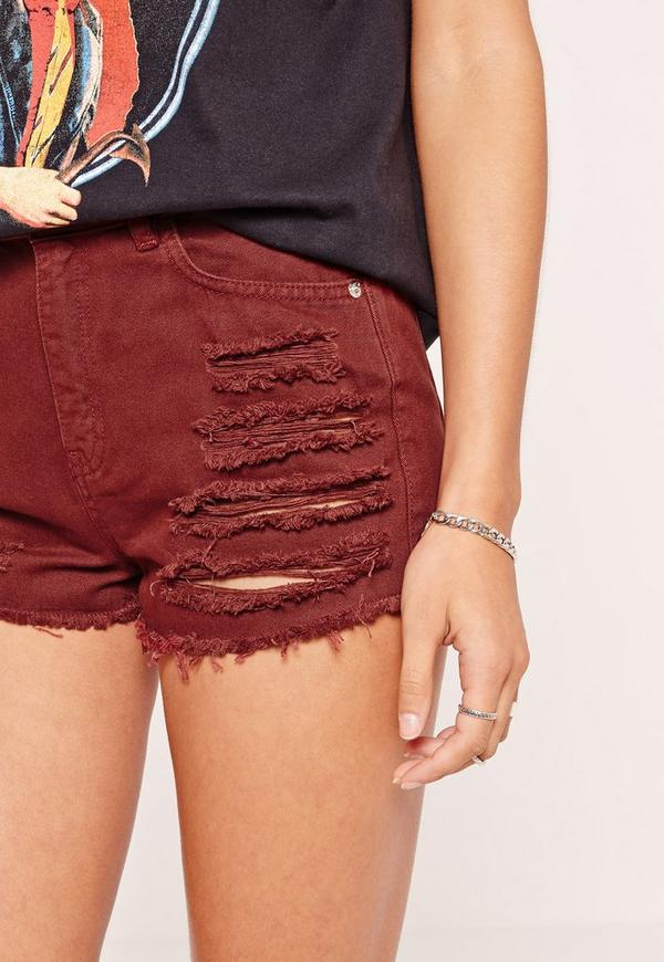 High Waisted Shredded Denim Shorts Burgundy | Missguided
