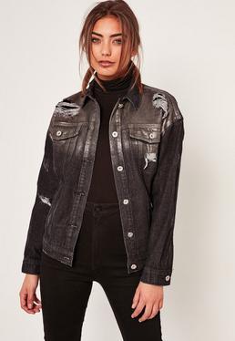 Czarna holograficzna woskowana kurtka jeansowa