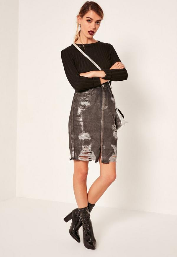 Black High Waisted Ripped Holographic Coated Denim Skirt Missguided