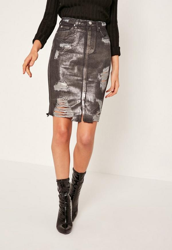 black high waisted ripped holographic coated denim skirt