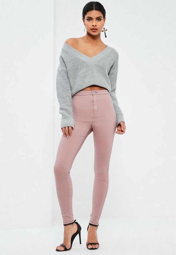 Pink Vice HIgh Waisted Skinny Jeans | Missguided