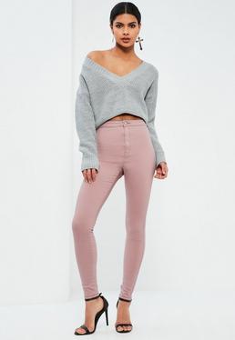 Różowe spodnie jeansowe Vice z wysokim stanem