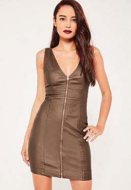Bronze Coated Seamed Plunge Denim Dress