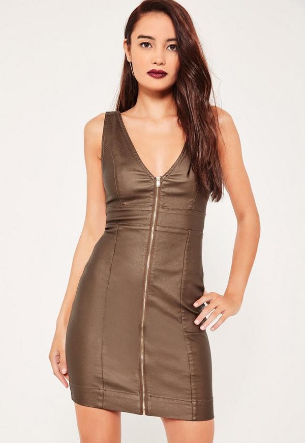 Bronze Coated Seamed Plunge Denim Dress