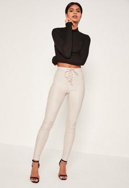 Jean skinny taille haute blanc enduit à lacets Vice