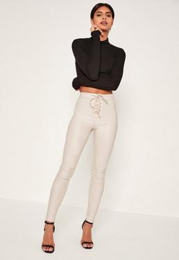 White Vice Highwaisted Coated Lace Up Front Skinny Jeans