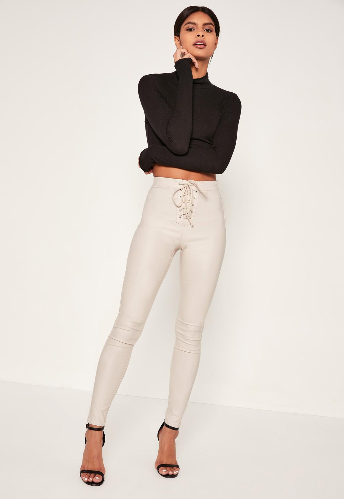 White Vice Highwaisted Coated Lace Up Front Skinny Jeans| Missguided