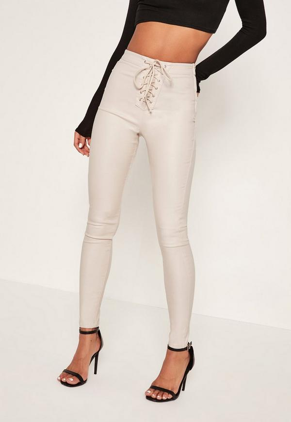 White Vice Highwaisted Coated Lace Up Front Skinny Jeans | Missguided