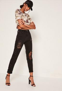 Black Riot Ripped & Distressed Mom Jeans