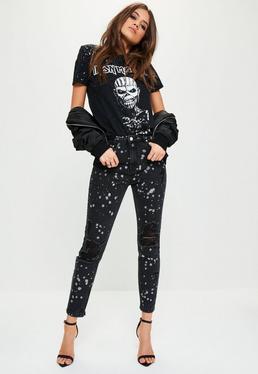 Black Sinner High Waisted Splattered Jeans