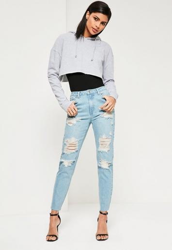blue riot high waisted ripped mom jeans missguided. Black Bedroom Furniture Sets. Home Design Ideas