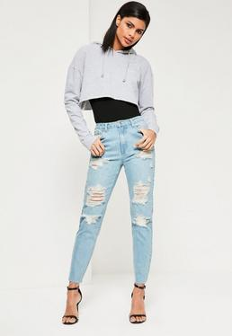 High Waisted Distressed Mom Jeans in Blau