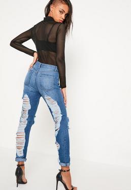 Blue Riot Back Shredded Jeans