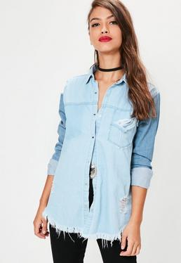 Blue Two Tone Shirt With Ripped Pocket