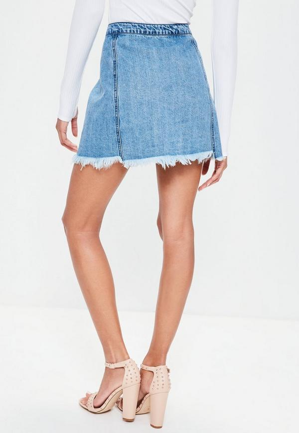 Blue A Line Skirt With Destroyed Hem   Missguided