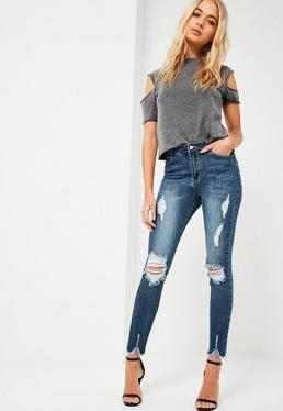 Blue Sinner Hacked Hem Skinny Jeans