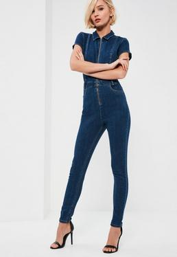 Blue Zip Front Denim Fitted Jumpsuit