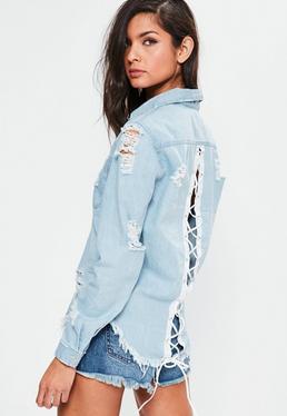 Niebieska poszarpana koszula jeansowa wiązana na plecach