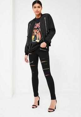 Black Anarchy Slashed Zip Skinny Jeans