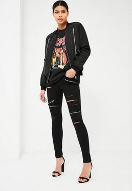 Czarne porozcinane dopasowane jeansy Anarchy z ozdobnymi zamkami