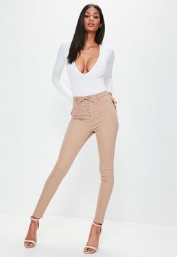 Vice High Waisted Lace Up Skinny Jeans Camel