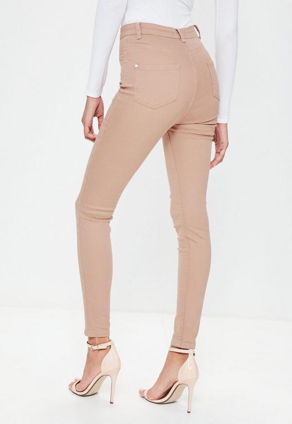 Beige skinny jeans next