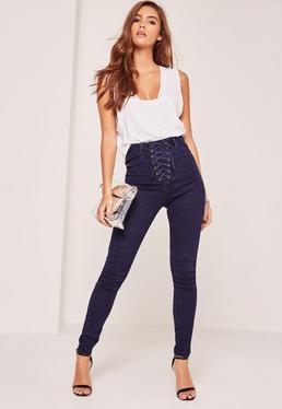 Jeans skinny taille haute avec lacets sur le devant