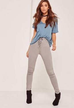 Jeans skinny gris taille haute avec lacets sur le devant