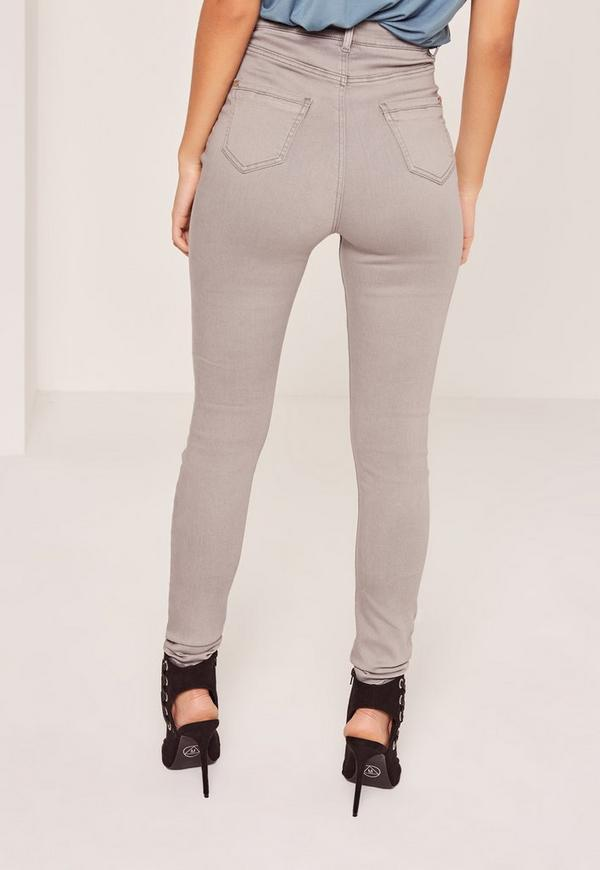 Vice High Waisted Lace Up Skinny Jeans Grey | Missguided