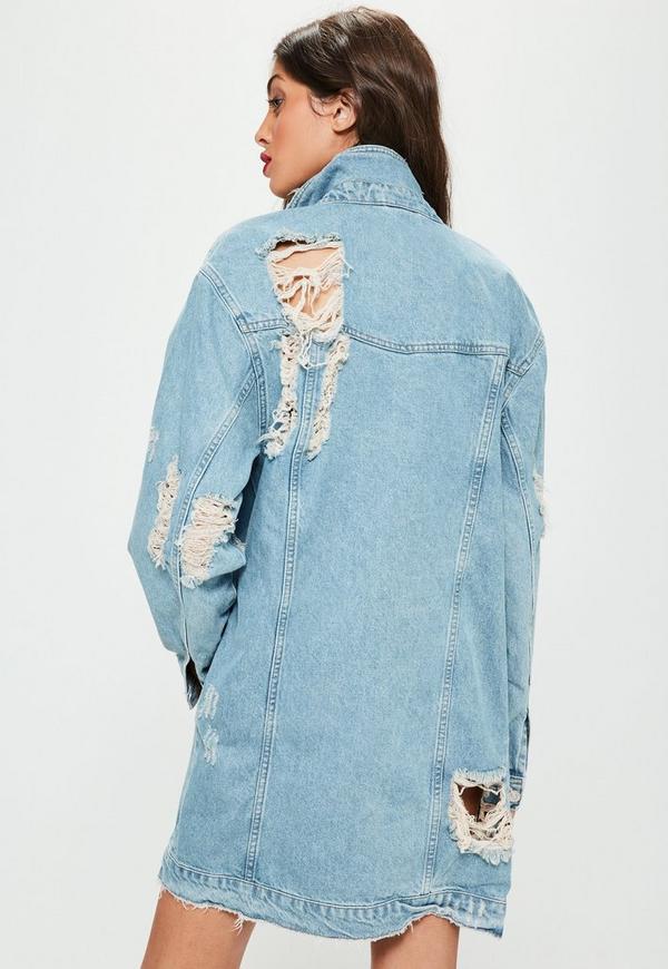 Niebieska Jeansowa Podarta Długa Kurtka Katana Missguided