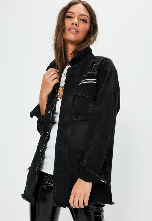 Black Ripped Denim Shacket