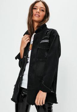 Czarna porwana jeansowa kurtka zapinana na zamek