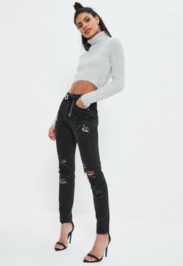 Czarne porwane spodnie jeansowe z ozdobnym haftem