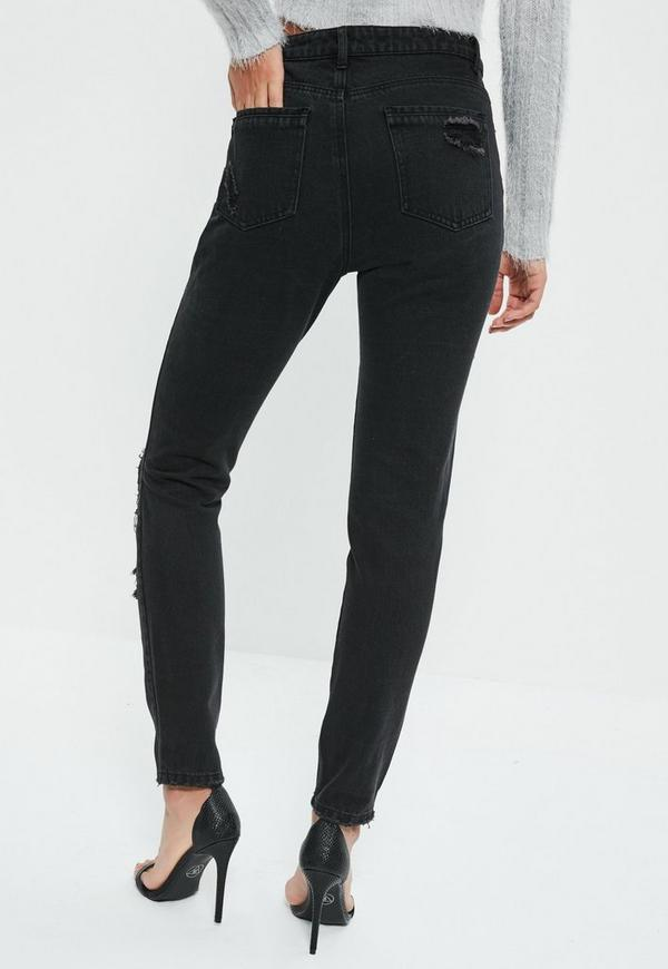 Black Riot Swallow Embroidered Jeans  Missguided