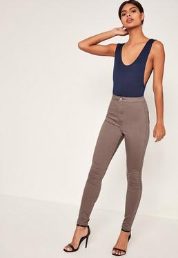 Brown Vice High Waisted Skinny Jeans