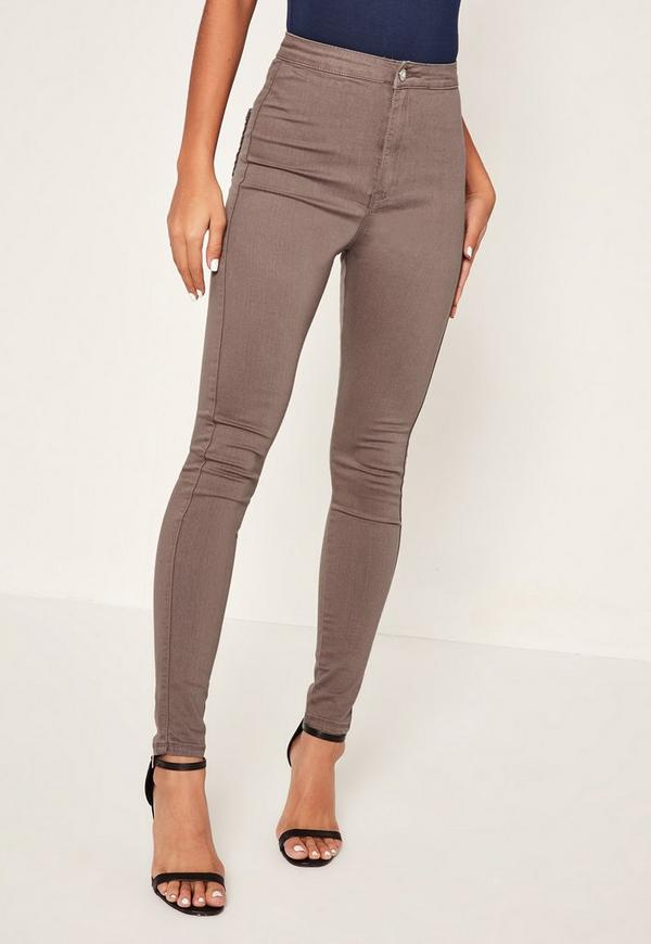 Brown Vice High Waisted Skinny Jeans - Missguided