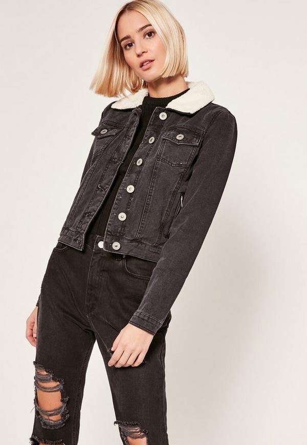 Black Faux Shearling Collar Denim Jacket