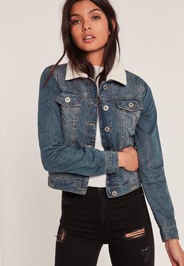 Veste en jean bleu délavé col moumoute