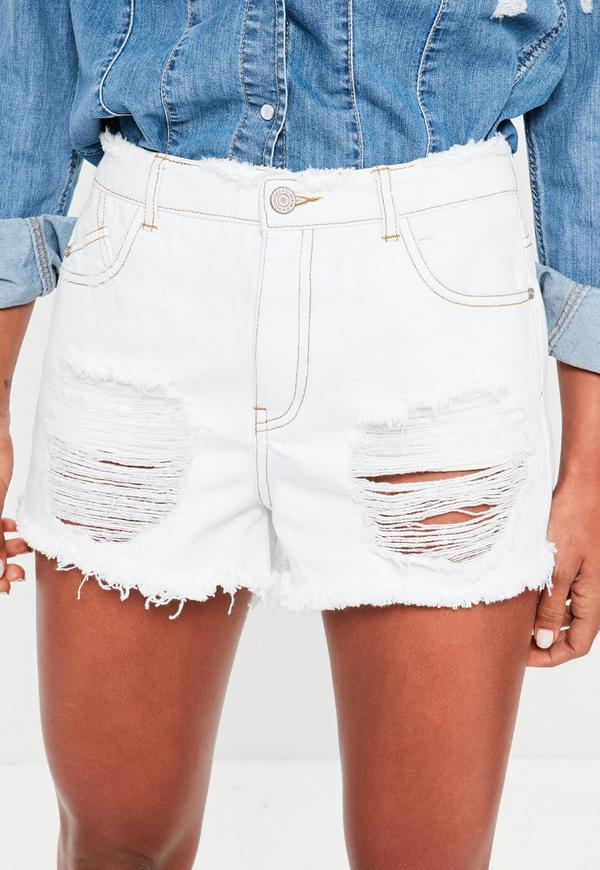 White Sinner High Waisted Ripped Denim Shorts   Missguided
