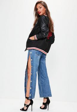Mid-Rise Weite Jeans mit Druckknopf Seite in Blau