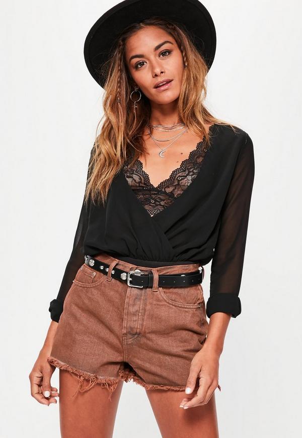 Brown High Waisted Denim Shorts