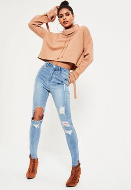 Blue Sinner Highwaisted Ripped Skinny Jeans