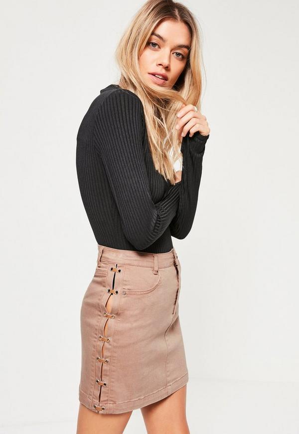 Nude Lace Up Denim Mini Skirt