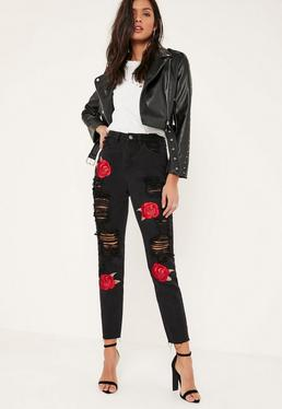 Black Riot Embroidered Rose Ripped Mom Jeans