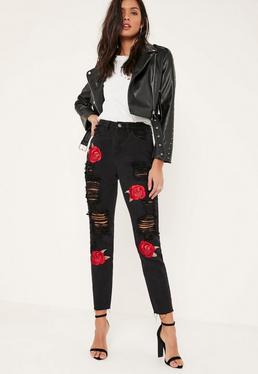 Jeans mom noir brodé de roses et déchiré