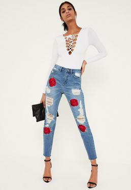 Blue Riot Embroidered Rose Ripped Mom Jeans