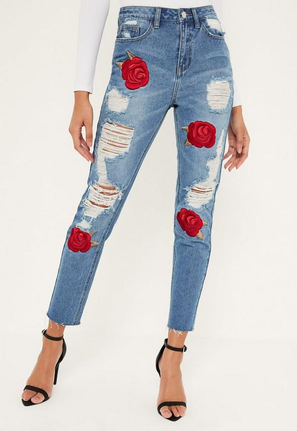 Blue Riot Embroidered Rose Ripped Mom Jeans  Missguided